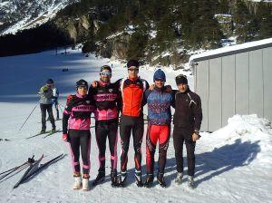 Cynthia, Dani, Petxan, Solu e Iñigo en las pistas de Cauterets