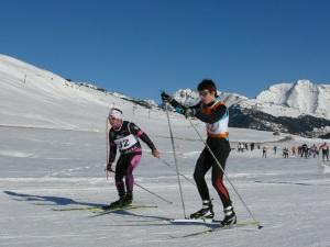 Haritz sufriendo en el llano de Beret. Foto: Ski Club d´Azun