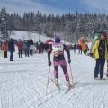 Cynthia disfrutando del esquí, en el kilómetro 51 de la Transjurassienne.